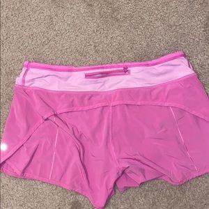 Pink Lulu Lemon Swifty Shorts